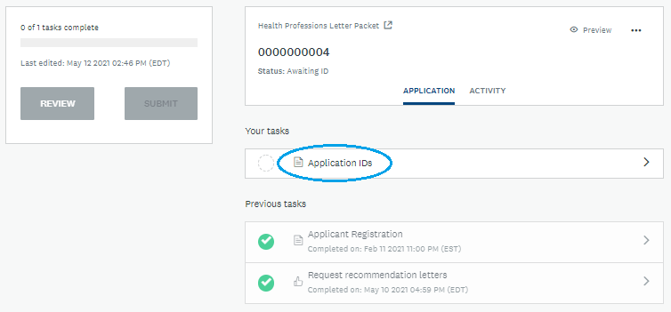Screenshot: Access Application IDs Form in Health Professions Letter Packet